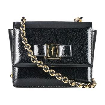 Ferragamo菲拉格慕女式黑色漆皮单肩斜挎包21E479643951