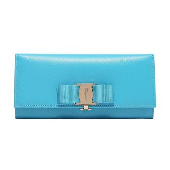 Ferragamo菲拉格慕女式湖蓝色牛皮长款搭扣钱夹22B559656954