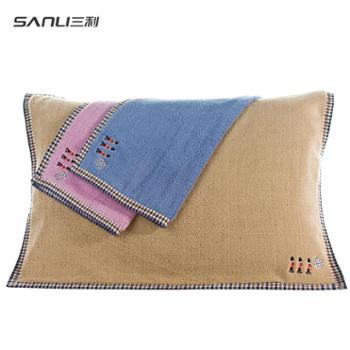 三利纯棉加厚枕巾2条装