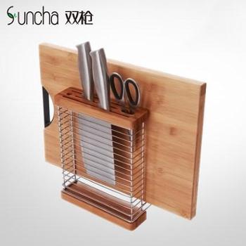双枪创意菜板架砧板架 刀座刀具架厨房收纳置物多功能壁挂沥水架