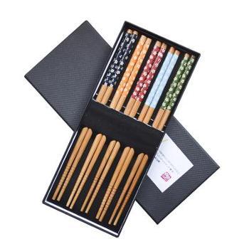 天然竹木筷子竹筷 精品高档礼盒包装便携餐具套装5双装家用筷子