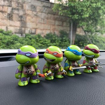 爆款车上装饰品忍者神龟公仔模型玩具汽车摆件车载内饰四个装