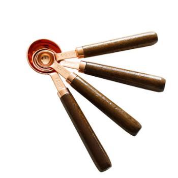 玫瑰金咖啡量勺 定量勺 黄铜色 套装克勺量匙刻度勺烘焙 量杯