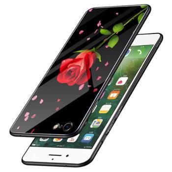 苹果6s手机壳玻璃少女款个性创意iphone6保护套硅胶潮牌苹果6splus钢化膜套全包软防摔phone6plus网红同款男