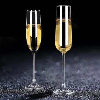 欧式水晶玻璃香槟杯套装红酒高脚杯家用6只装气泡酒杯婚礼创意2个