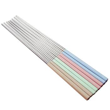 创意304不锈钢筷子10双套装5家用家庭装防霉长铁筷子金属酒店餐具