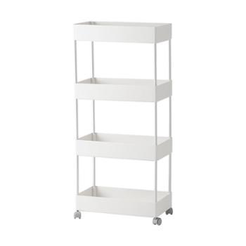 懒角落 窄款可移动置物架厨房浴室落地收纳储物架多层带轮子66070