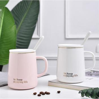 简约时尚潮流家用杯子陶瓷马克杯男女学生情侣咖啡牛奶水杯带盖勺