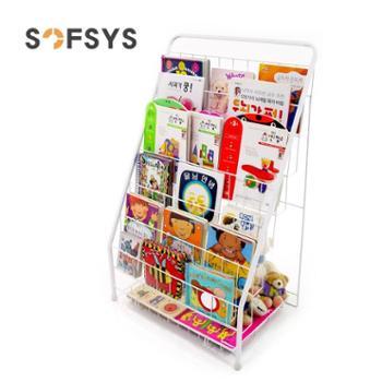 SOFSYS儿童书架铁艺杂志架绘本书报置物架落地报刊架简易宝宝书架