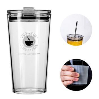 加厚水果茶玻璃杯网红ins风透明少女心带盖吸管水杯子大人牛奶杯