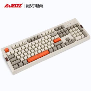 黑爵AK510樱桃轴cherry复古机械键盘电脑游戏台式104键青轴黑轴茶轴红轴双色PBT球帽电竞RGB灯光发光有线IG