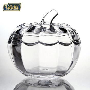 创意大号客厅带盖果盘时尚欧式水晶玻璃水果盘水晶南瓜果盆干果盘
