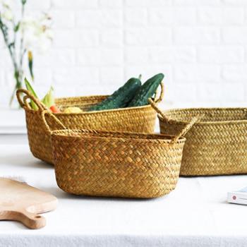 NDP 欧式简约带提手手工编织水果篮桌面整理收纳篮化妆品收纳筐