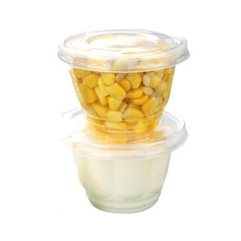 纸管家一次性玉米杯塑料冰淇淋杯双皮奶杯酸奶布丁杯带盖