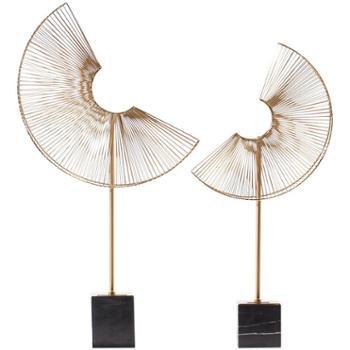 简欧现代金属几何摆件样板间玄关过道饰品中式软装办公室装饰摆设