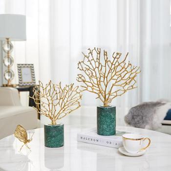 欧美式轻奢金属珊瑚摆件*客厅家居玄关电视柜软装饰品工艺品