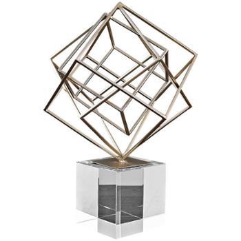 创意抽象几何金属摆件现代简约北欧客厅酒柜办公室桌面家居装饰品