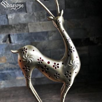 灵鹿金属装饰摆件客厅书房创意动物雕像工艺品欧式复古家居饰品