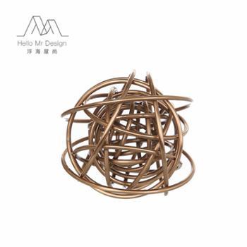 现代简约创意家居装饰品金属装饰球摆设件玄关工艺饰品摆件