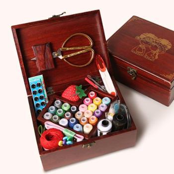 AuZaRox/奥萨洛婚庆实木针线盒套装结婚陪嫁用品家用布艺缝纫针线剪刀缝纫线工具