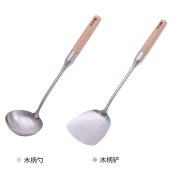 防烫木柄304不锈钢锅铲炒菜铲子厨具套装加厚厨房用具家用品铲勺