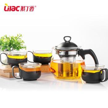 紫丁香耐热玻璃茶壶过滤茶具套装花茶壶家用茶杯泡茶壶客厅冲茶器