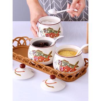 陶瓷调味罐套装盐罐子味精盐糖调料盒厨房家用调味盒辣椒油调料罐