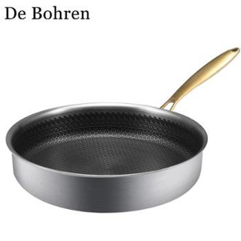 DeBohren304不锈钢不粘锅家用牛排煎锅燃气通用