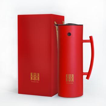 百安思结婚陪嫁红色一对暖壶玻璃保温壶