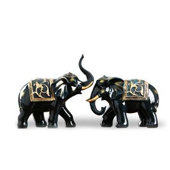 宏赫桌面摆件招财大象一对深蓝色