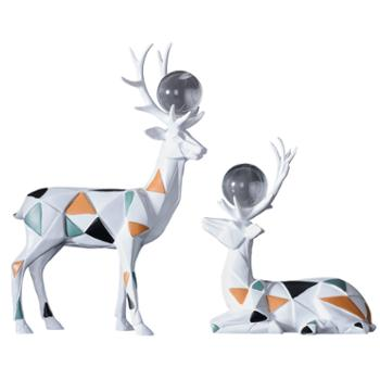 初道北欧家居摆件水晶几何鹿套装