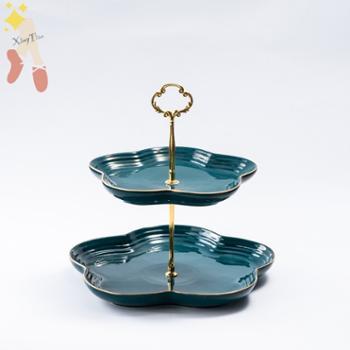 维光欧式三层水果盘客厅家用陶瓷双层网红果盘