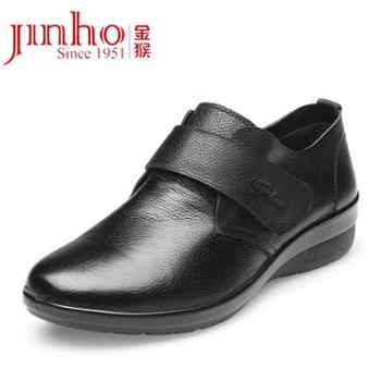 Jinho/金猴真皮牛皮时尚女单鞋舒适经典轻便妈妈鞋Q15003A