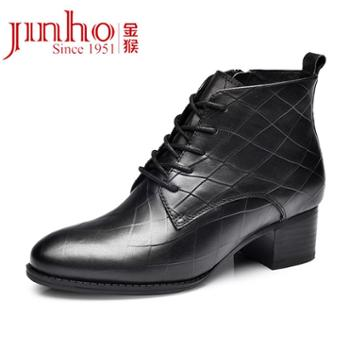 金猴女士系带英伦皮鞋女商务休闲鞋马丁靴女SQ45028A