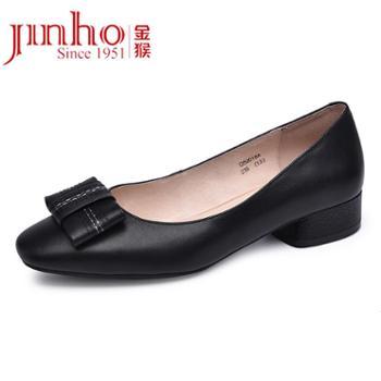 金猴(JINHOU)韩版牛皮粗跟百搭浅口复古方头气质女士单鞋Q50018