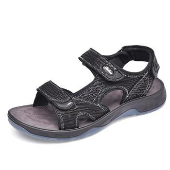金猴休闲户外牛皮透气防滑魔术贴轻便两穿沙滩鞋Q98006
