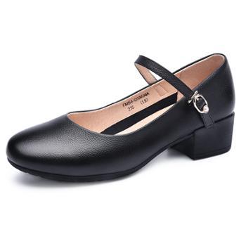 金猴女士黑色绑带不掉脚工装鞋浅口圆头中跟女鞋Q50036A