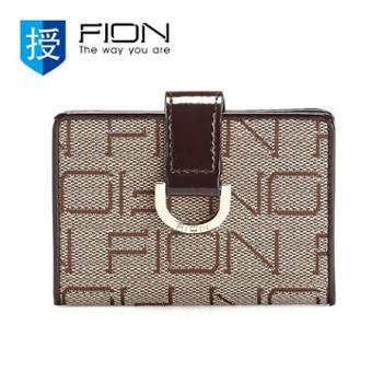 菲安妮FIONFAISLB/BRN/W05织花料卡包