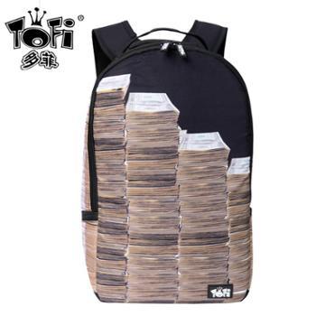 多菲潮牌双肩包男背包大中学生 创意印花旅行包