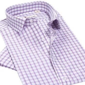 纯棉格子衬衫男短袖免烫商务休闲衬衫