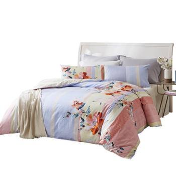 罗莱家纺 清风吟全棉四件套 田园温馨床单套件赠送进口面巾1条