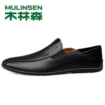 木林森男鞋2019时尚休闲皮鞋男真皮软底潮鞋舒适男鞋