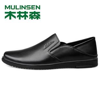木林森2019款懒人一脚蹬男鞋休闲皮鞋四季男士皮鞋