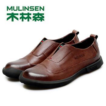 木林森男鞋夏季透气款英伦皮鞋男士商务休闲鞋韩版百搭潮鞋