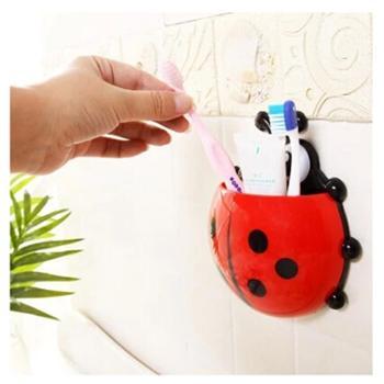 2个装 可爱创意瓢虫牙刷架 牙膏架组合套装 强力吸盘牙刷牙膏置物架72g