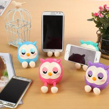青沐 新款韩国创意手机座桌面可爱猫头鹰懒人手机支架托架多功能储蓄罐1个 颜色随机