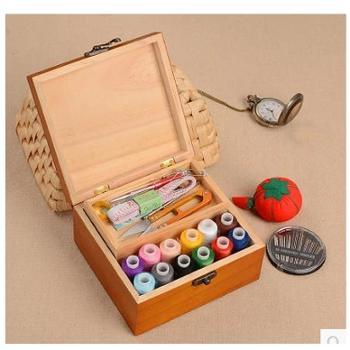居家太太 百宝箱实木针线盒韩国风针线套装缝纫手缝线家用收纳针线包