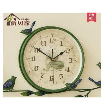 优贝家田园铁艺挂钟小鸟创意钟表欧式静音时钟大号艺术个性挂表客厅
