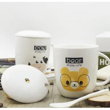 卡通创意马克杯 陶瓷杯子 水杯大号杯子咖啡杯 带盖带勺子400ml(杯垫颜色多款,随机配送)