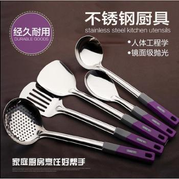 金欣 不锈钢锅铲勺5件套装不锈钢厨具炒菜铲子漏勺全套厨房烹饪用具